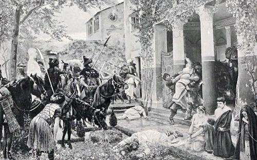 Huns killing Roman citizens, Source: Wikimedia