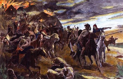 Hun warriors pillaging, Source: Wikimedia
